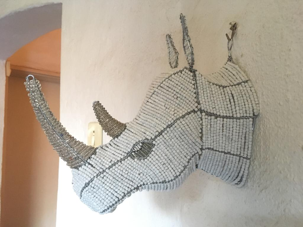 Beaded rhino head